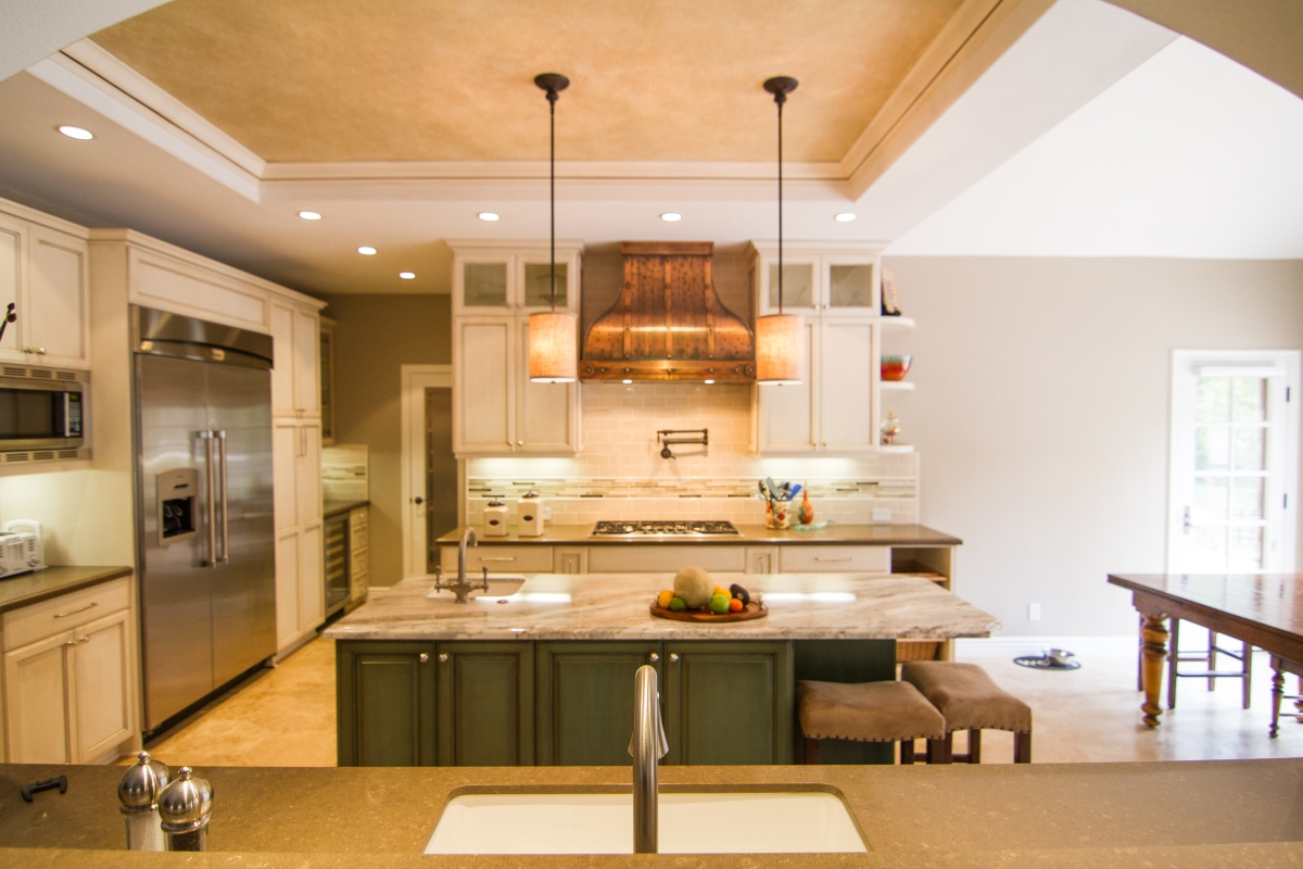 Kitchen Remodel with Antique White and Cocoa Glaze and Granite Countertop in Westlake Village CA