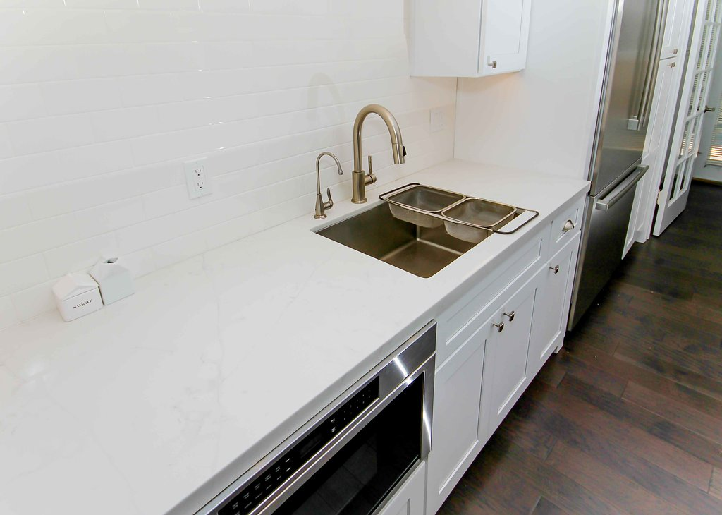 Kitchen Remodel with White Shaker and White Quartz Countertop in Woodland Hills CA