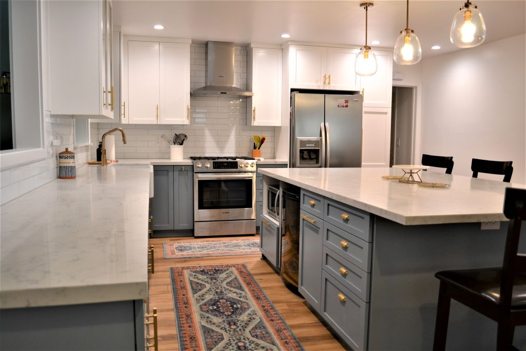 Kitchen Remodel with White Upper and Powder Blue Lower Cabinets in Winnetka CA