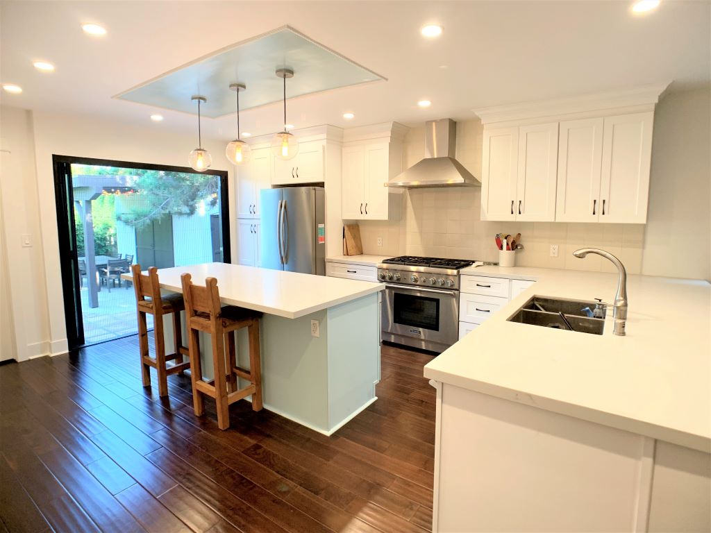Kitchen Remodel Gorgeous White Shaker with Cool Mint Green Island in West Hollywood