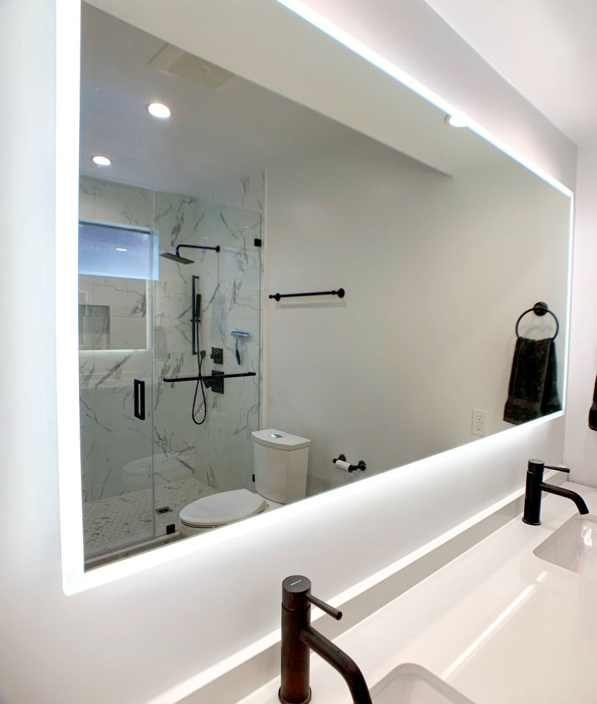 Master & Guest Bathroom Remodel Featuring Matte Black Fixtures in Studio City