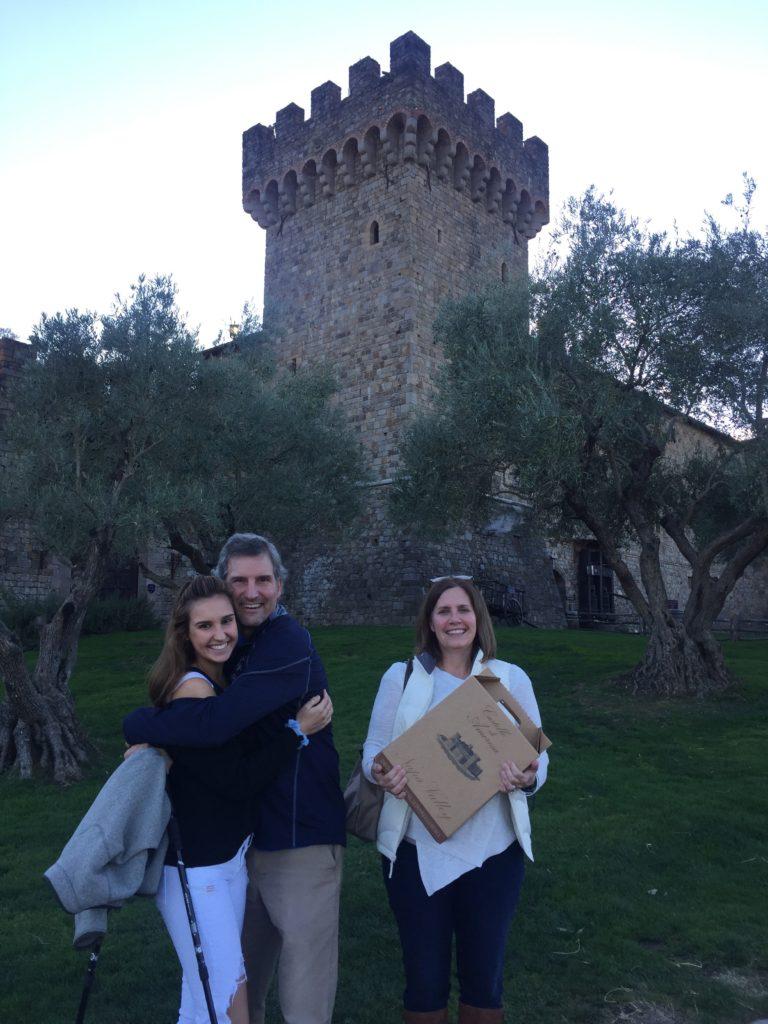 Graham, Dawn and U leaving Castello di Amorosa with their treats
