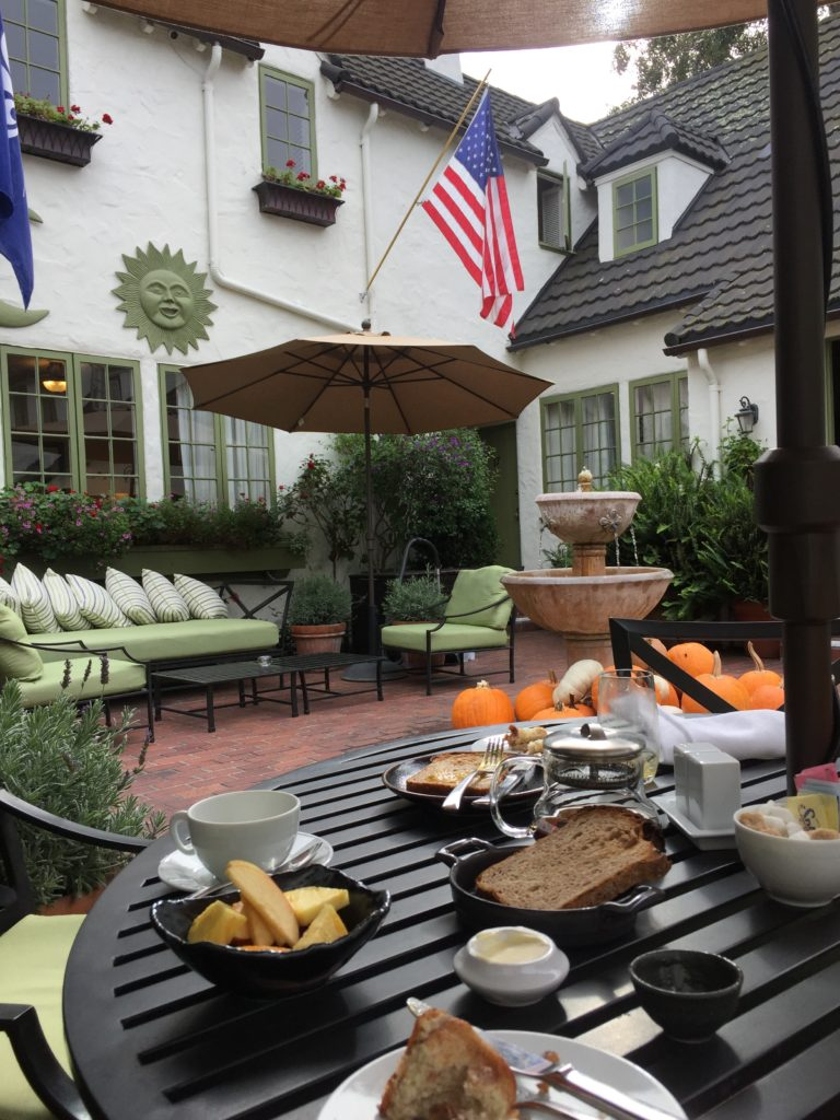 The best eggs ever at breakfast in the courtyard at L'Auberge Carmel