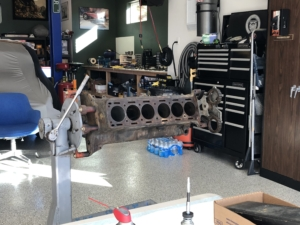 The engine block on the stand
