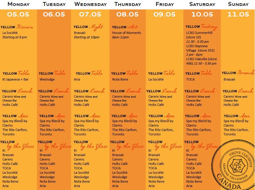 Veuve Clicquot Yelloweek Schedule