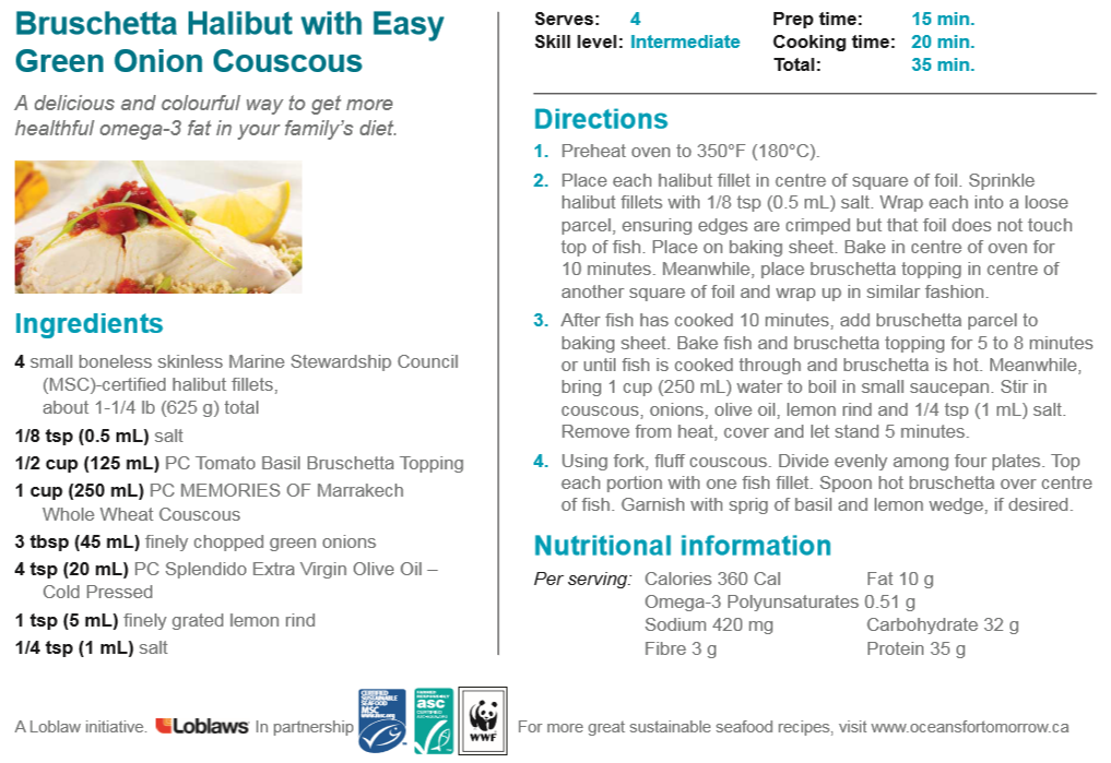 Bruschetta Halibut with Easy Green Onion Couscous