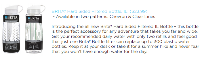 #BritaHydrate Hard Sided Filtered Bottle 1L
