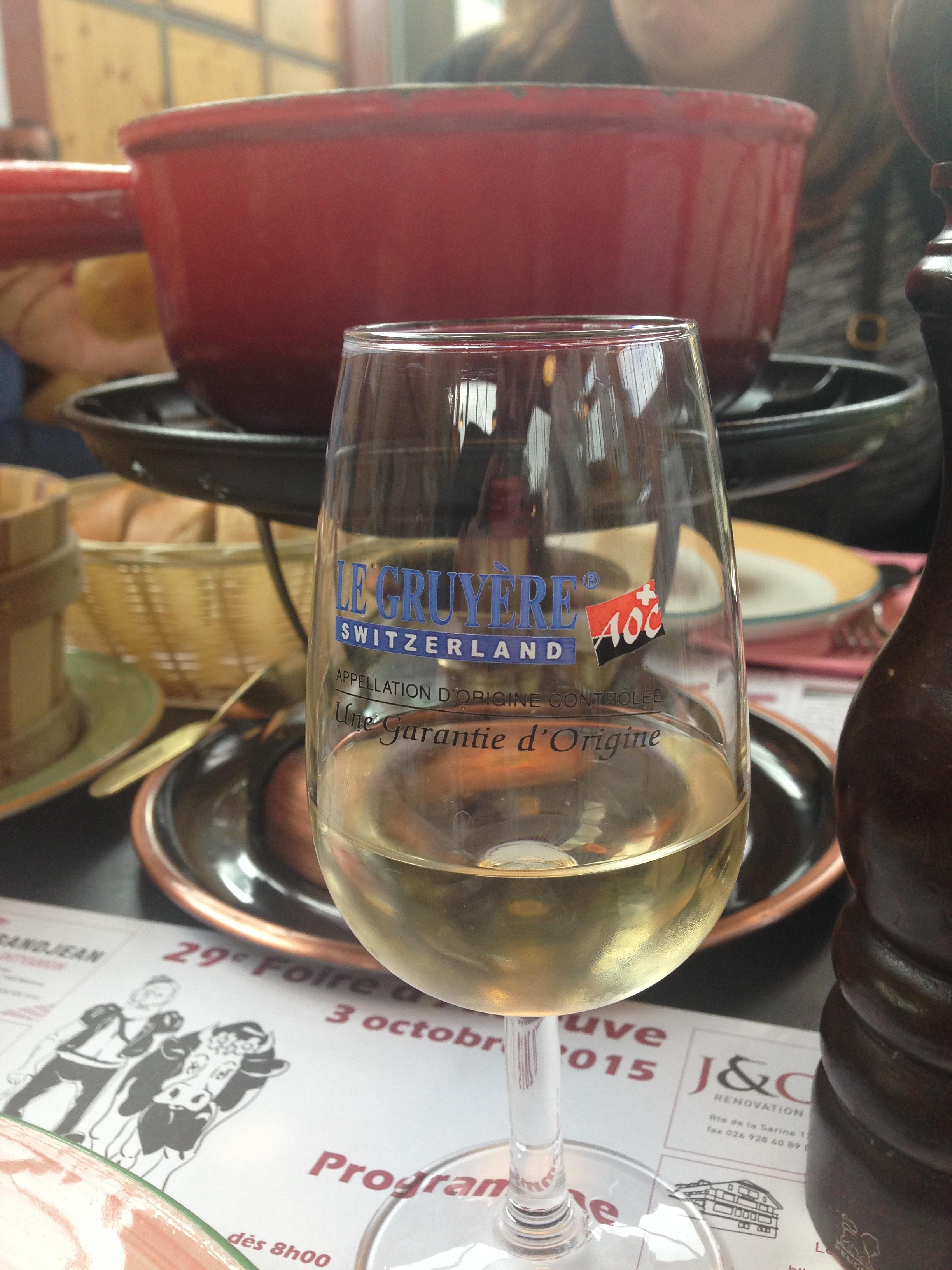 Fondu and wine