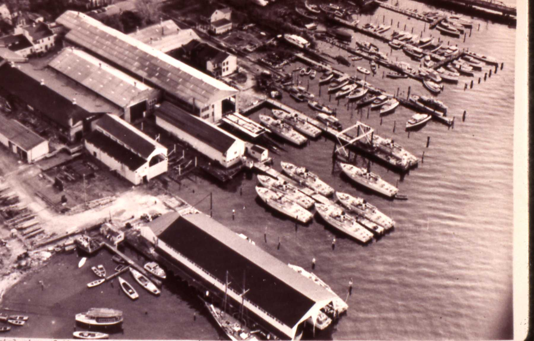 Historic aerial view of 222 Severn showing the Annapolis Yacht Yard circa 1930-1945.