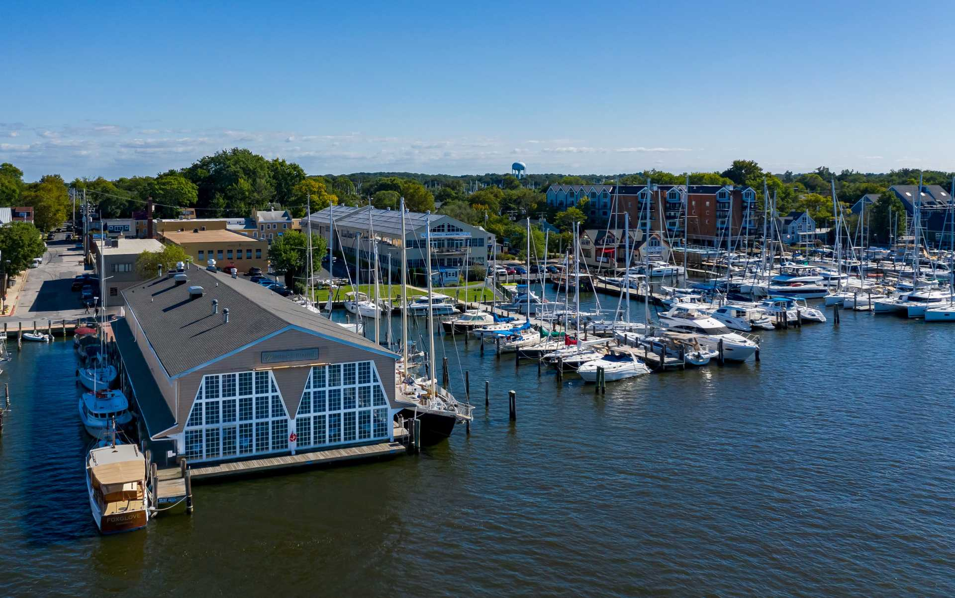 A lovely summer day at 222 Severn office complex and marina, waterfront property on Spa Creek across from Annapolis, Maryland.