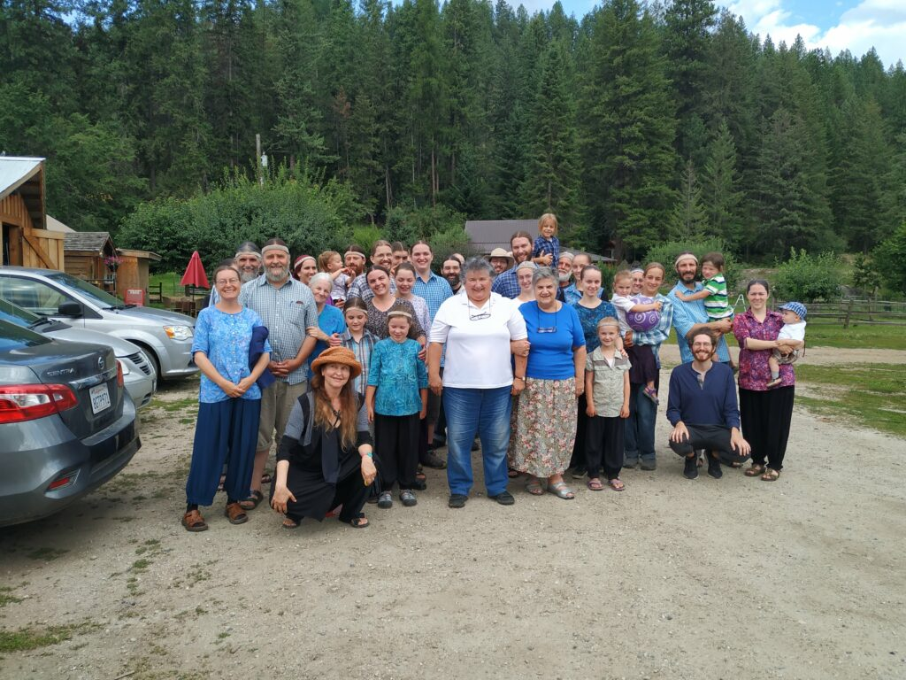 A group picture with the Twelve Tribes after interviews were conducted by Susan Palmer, Bernadette Rigal-Celard, and Shane Dussault