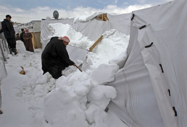 Campo de refugiados no Líbano sofre com baixas temperaturas. Crédito: Anadolu Agency