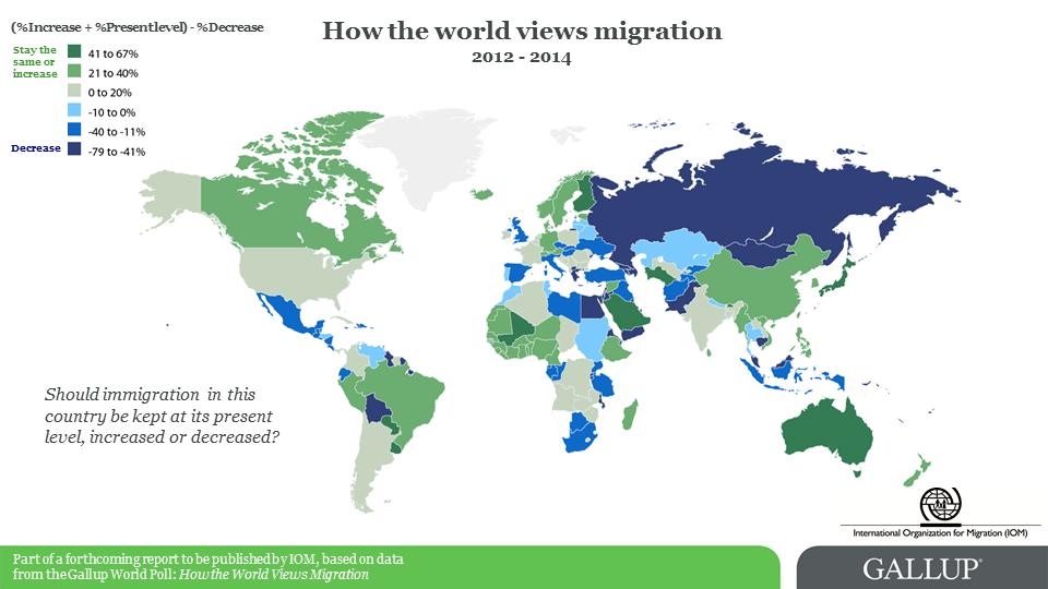 Mapa mostra a tendência da opinião pública em relação à migração em cada país. Crédito: OIM
