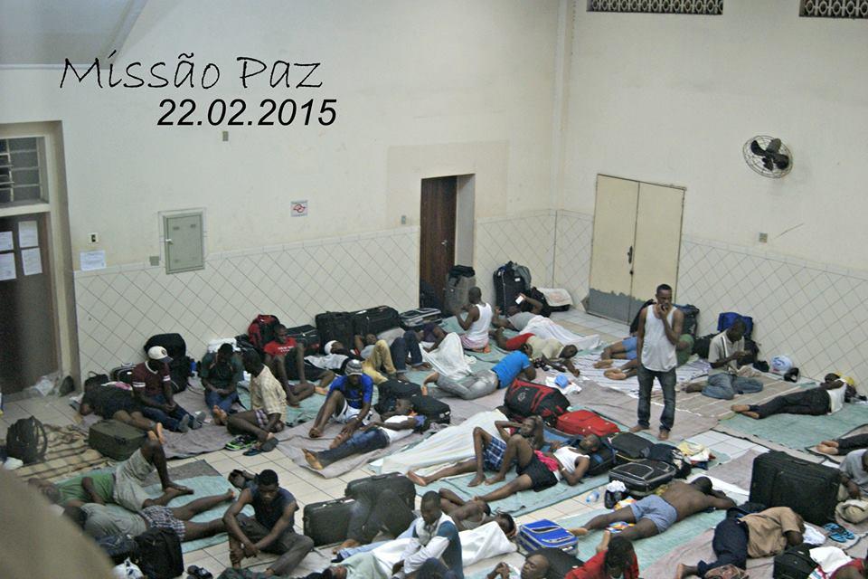 Interior de um dos salões da Missão Paz, em 22 de fevereiro de 2015. Crédito: Missão Paz