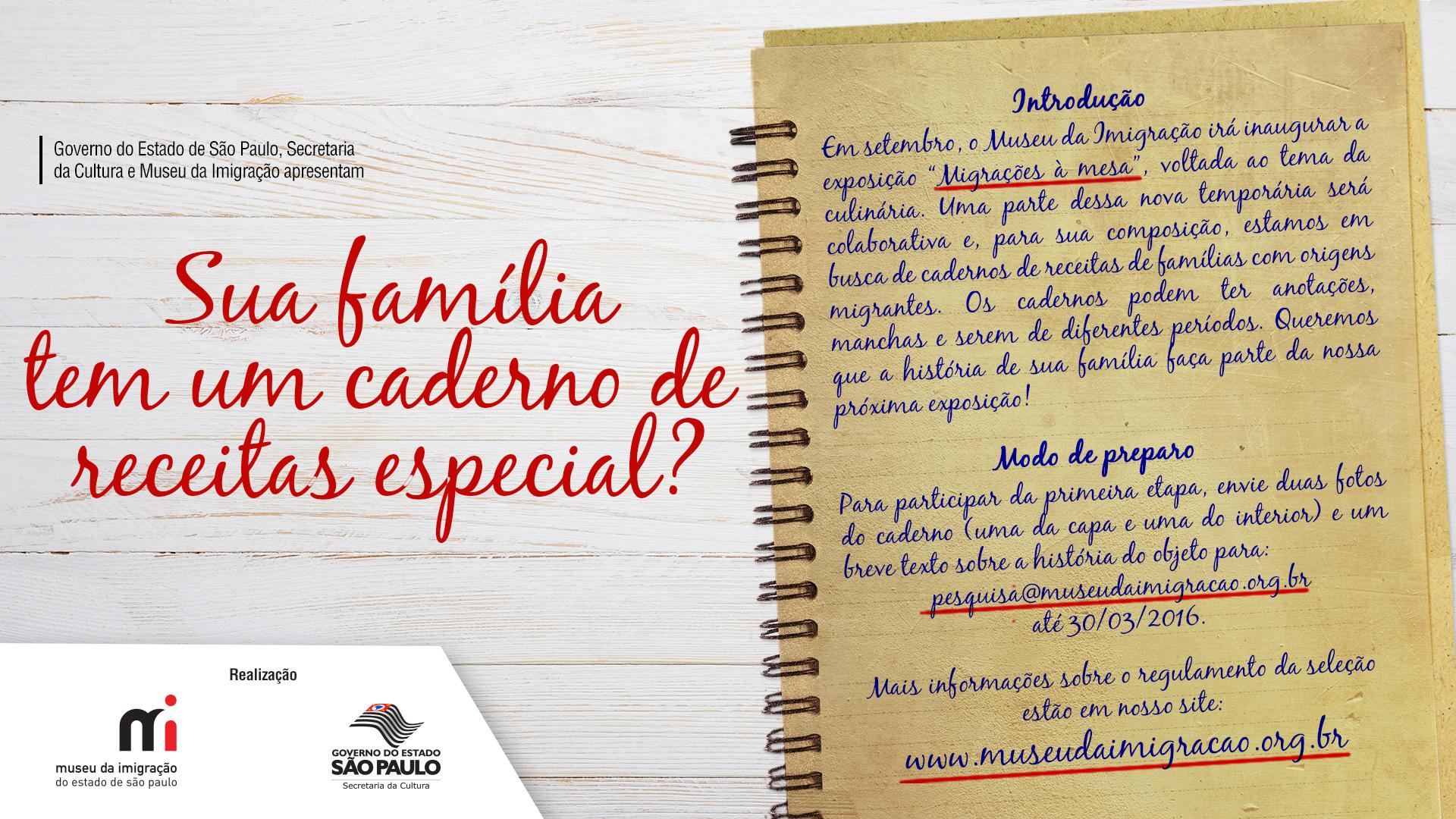Museu da Imigração busca cadernos de receitas com origens migrantes para nova exposição temporária. Crédito: Divulgação