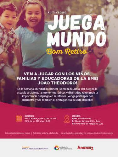 Cartaz em espanhol que divulga informações sobre a atividade na EMEI João Theodoro. Crédito: Divulgação
