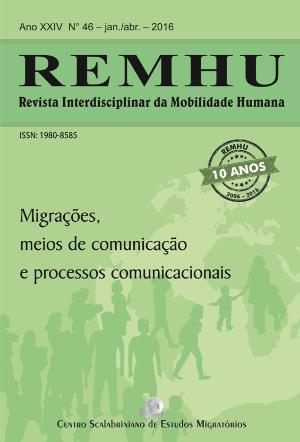 Capa da nova edição da REMHU, que trata de Migrações, meios de comunicação e processos comunicacionais. Crédito: Reprodução