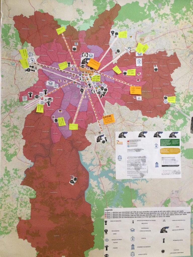 Imigrantes montam mapa colaborativo sobre a cidade de São Paulo. Crédito: Divulgação