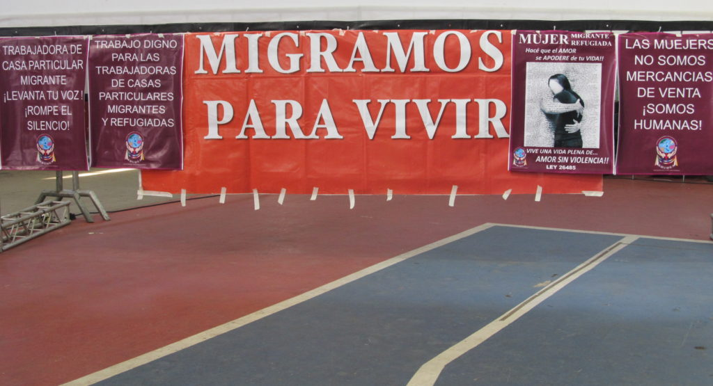 Manifestação da Amura (Asociación Civil de Derechos Humanos Mujeres Unidas Migrantes y Refugiadas en Argentina), durante o FSMM (Fórum Social Mundial das Migrações) em São Paulo, em 2016. Crédito: Rodrigo Borges Delfim/MigraMundo