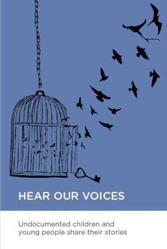 Capa de Hear Our Voices, publicação da PICUM focada em crianças e jovens refugiados. Crédito: Reprodução
