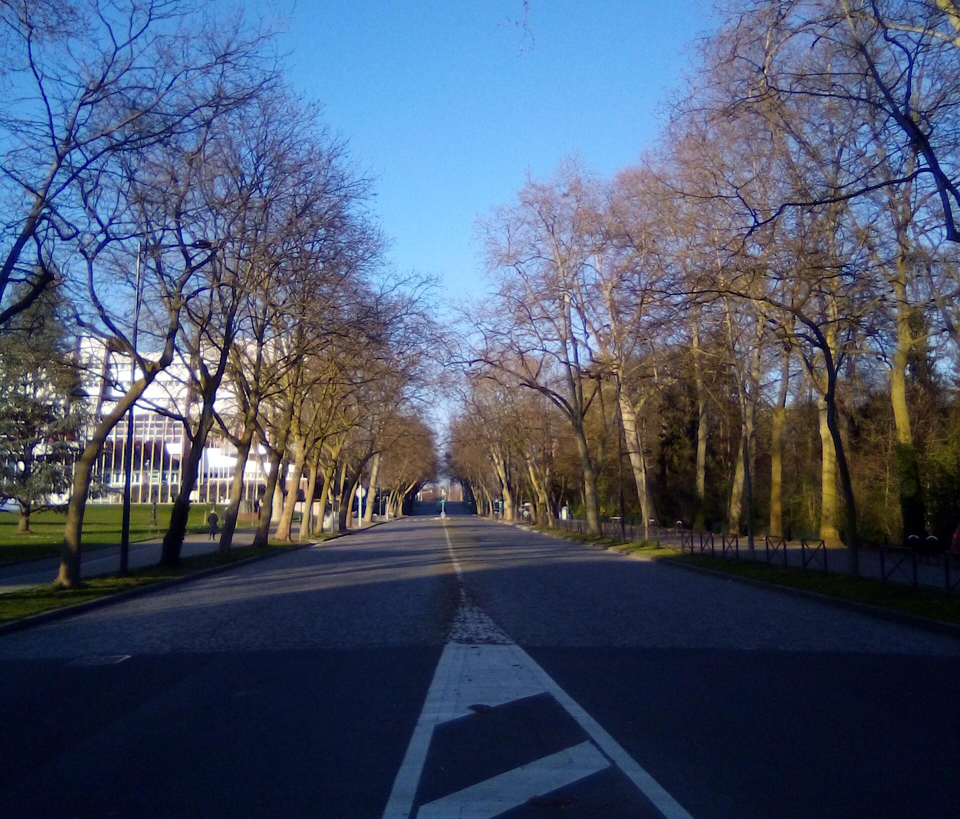 Uma das principais vias de Estrasburgo França), deserta em meio à quarentena imposta contra o Covid-19