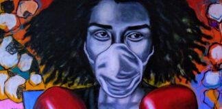 Quadro do artista congolês Lavi Israël, radicado no Brasil, inspirada na pandemia de coronavírus