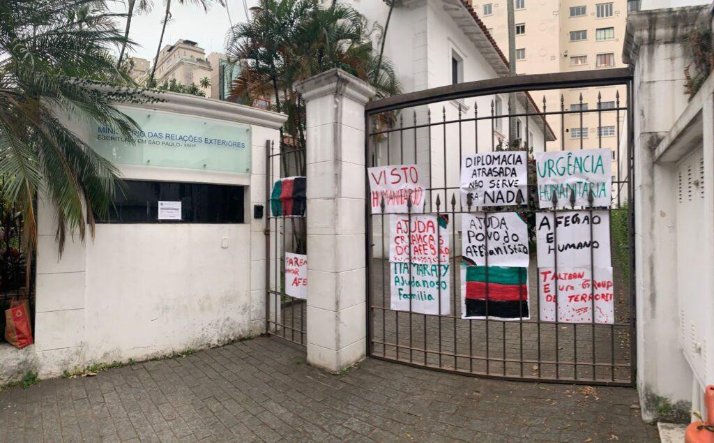 Escritório do Itamaraty em São Paulo, após protesto de afegãos no Brasil pedindo visto humanitário.