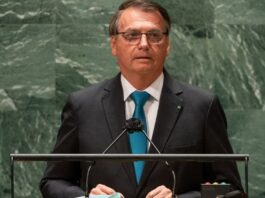 O presidente do Brasil, Jair Bolsonaro, durante discurso na Assembleia-Gerla da ONU 2021