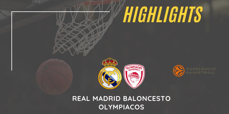 VÍDEO   Highlights   Real Madrid Baloncesto vs Olympiacos   Euroleague   Jornada 33