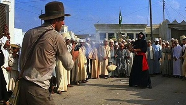 Sword vs. Gun in Raiders of the Lost Ark