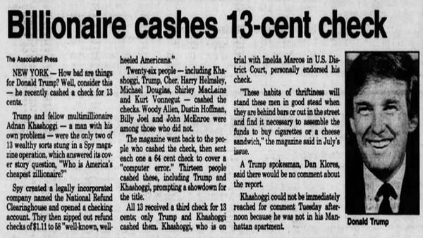 Donald Trump Cashed a Check for 13 Cents