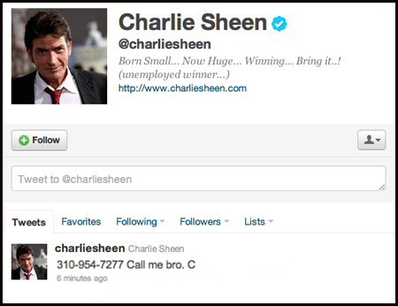 Charlie Sheen gives number to Bieber
