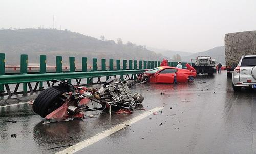 Two Wrecked Ferraris in China