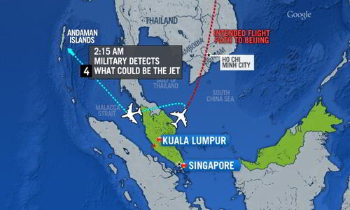 Malaysian Airlines deviated from original path