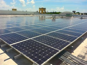 Commercial solar energy pv array system flat roof strip mall