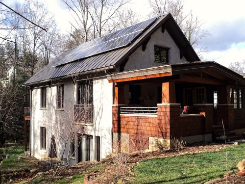 Residential solar energy pv system array metal roof Asheville, NC