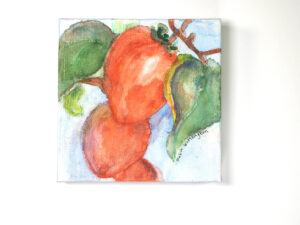Persimmon Cascade, by Robin Worthington (Watercolor & Colored Pencil)