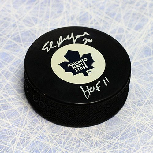 Ed Belfour Hall of Fame Signed Puck-Toronto Maple Leafs