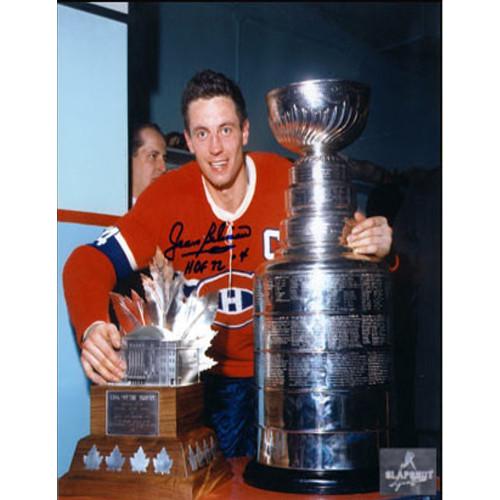 Jean Beliveau Trophy-Signed 8x10 Stanley Cup & Conn Smythe Photo