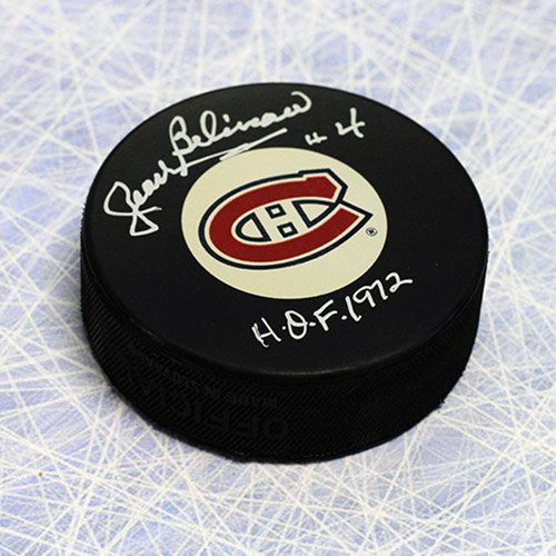 Jean Beliveau Montreal Canadiens Signed Hockey Puck with HOF 72 Note