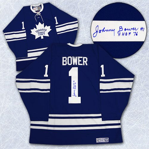 Johnny Bower Autographed Jersey Vintage Toronto Maple Leafs