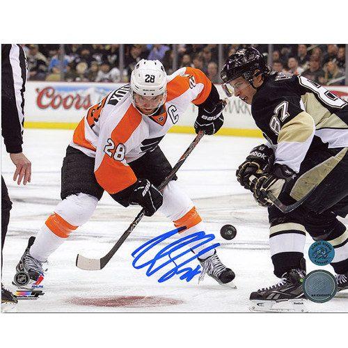 Claude Giroux Vs. Crosby-Philadelphia Flyers Signed Face-off 8x10 Photo