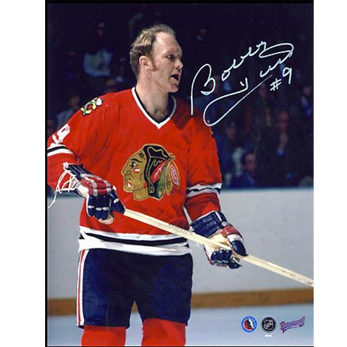 Bobby Hull Signed Photograph Chicago Blackhawks On Ice Close-up 8x10