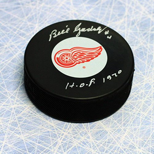 Bill Gadsby Signed Puck Detroit Red Wings with HOF note