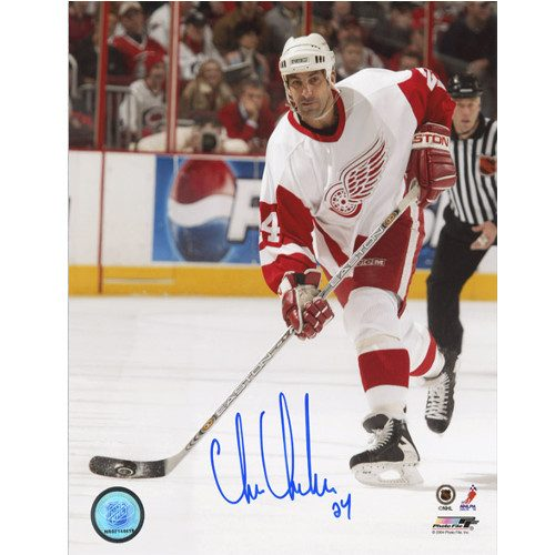 Chris Chelios Signed Detroit Red Wings on Ice 8x10 Photo