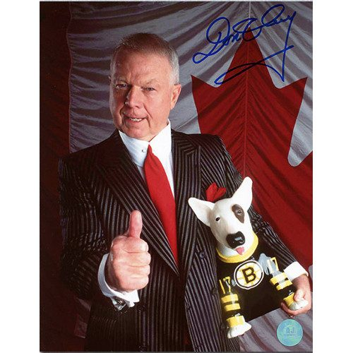 Don Cherry Canadian Flag Autographed Thumbs Up with Blue 8x10 Photo