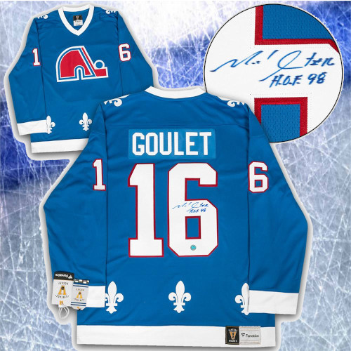 Michel Goulet Quebec Nordiques Signed Fanatics Vintage Hockey Jersey