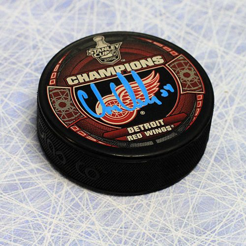 Chris Chelios 2008 Stanley Cup Signed Puck-Detroit Red Wings