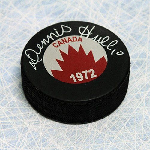 Dennis Hull 1972 Team Canada Signed Puck