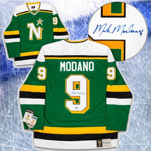 Mike Modano Minnesota North Stars Signed Fanatics Vintage Hockey Jersey